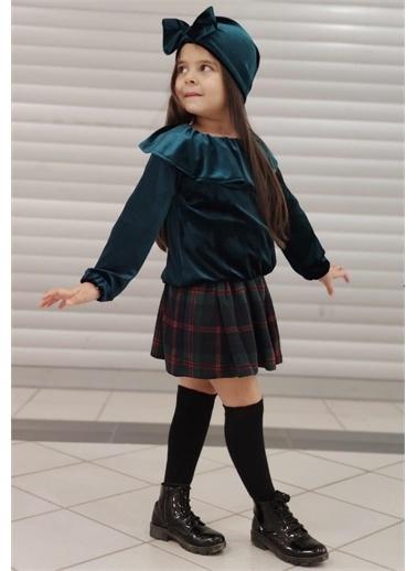 Riccotarz Kız Çocuk Zümrüt Kadife Pileli Etekli Takım Renkli